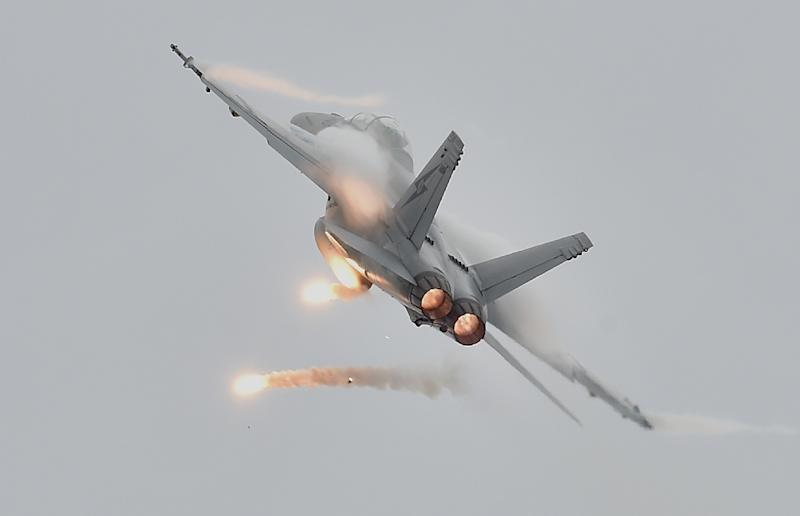 A Royal Australian Air Force FA-18 Hornet performs during the Australian International Airshow at the Avalon Airfield near Lara southwest of Melbourne on February 27, 2015