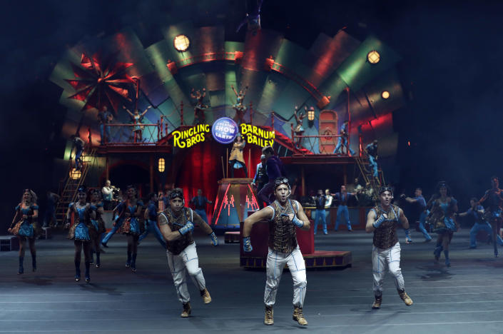 """Ringling Bros. and Barnum & Bailey performers are seen during a show Saturday, Jan. 14, 2017, in Orlando, Fla. The Ringling Bros. and Barnum & Bailey Circus will end the """"The Greatest Show on Earth"""" in May, following a 146-year run of performances. Kenneth Feld, the chairman and CEO of Feld Entertainment, which owns the circus, told The Associated Press, declining attendance combined with high operating costs are among the reasons for closing. (AP Photo/Chris O'Meara)"""