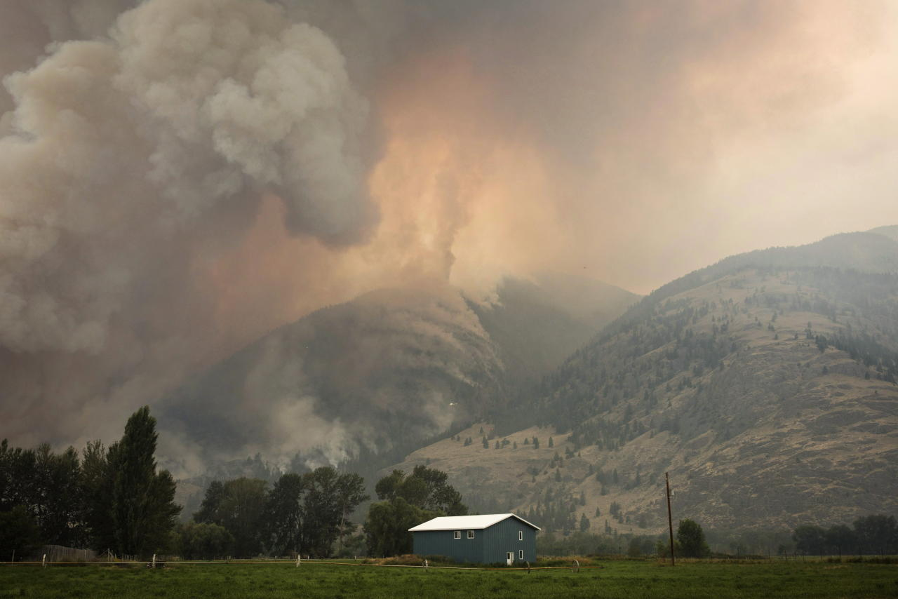 <p>The Snowy Mountain wildfire, currently the largest in B.C., is visible from Cawston, B.C., Aug. 2, 2018. (Photo from The Canadian Press/Melissa Renwick) </p>