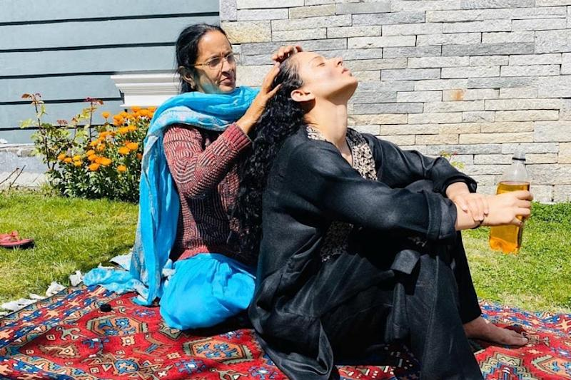 In Pics: Kangana Ranaut's Mother Oiling Her Hair Amid Self-Quarantine Refreshes Childhood Memories