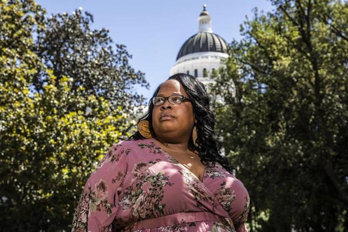 Kolieka Seigle, president of the California National Organization for Women who is advocating for legislation to punish marital rape the same as other types of rape, stands for a portrait near the California State Capitol in Sacramento, Calif. on Tuesday, May 11, 2021. (Stephen Lam / San Francisco Chronicle)