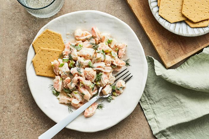 <p>A bright mayonnaise dressing with lemon and Old Bay seasoning marries the flavors of shrimp, celery and scallions. Serve this easy shrimp salad over Bibb lettuce or a spring mix.</p>