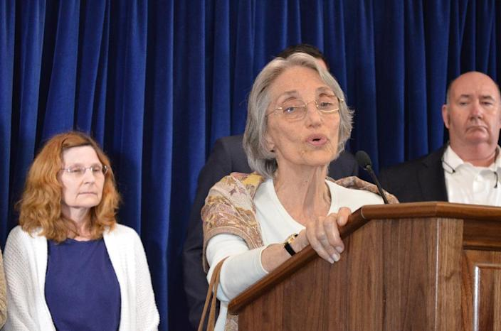 Silvia Jacobs who lost her son Ariel L. Jacobs in the Sept. 11, 2001, attacks on the World in the World Trade Center speakds to roperters during a press conference at the U.S. Guantanamo Naval base in Cuba, April 17, 2014. Mrs. Jacobs sought to honor his son's memory by joining a small group of family members at a pretrial hearing at the base in for the five men charged with orchestrating the attacks. (AP PHOTO/Stijn Hustinx)