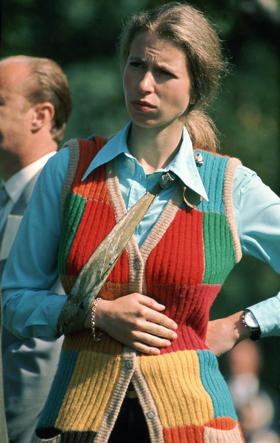 <p>Anne's injured wrist is held in a sling. She was competing at an equestrian event in Kiev, Russia.<br></p>