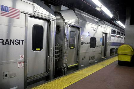 FILE PHOTO: A New Jersey Transit train is pictured at Pennsylvania Station as it shows some damage after being involved in an incident