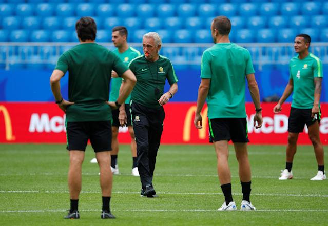 Soccer Football - World Cup - Australia Training - Samara Arena, Samara, Russia - June 20, 2018 Australia coach Bert van Marwijk during training REUTERS/David Gray