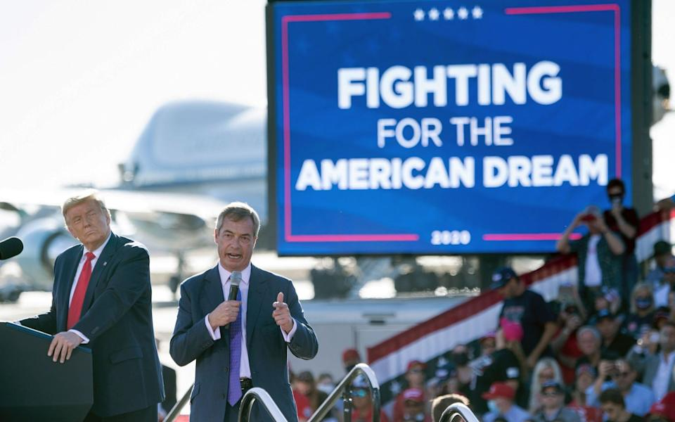 Mr Farage speaking at a Donald Trump rally in Arizona yesterday - AFP/ BRENDAN SMIALOWSKI