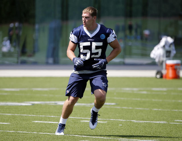 Dallas Cowboys linebacker Leighton Vander Esch (55) goes through drills during the team's NFL football rookie minicamp in Frisco, Texas, Friday, May 11, 2018 (AP Photo/Michael Ainsworth)