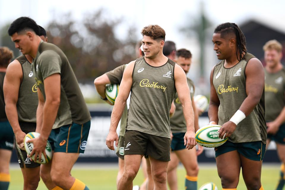 James O'Connor (pictured middle) watches on during the Australian Wallabies captain's run.