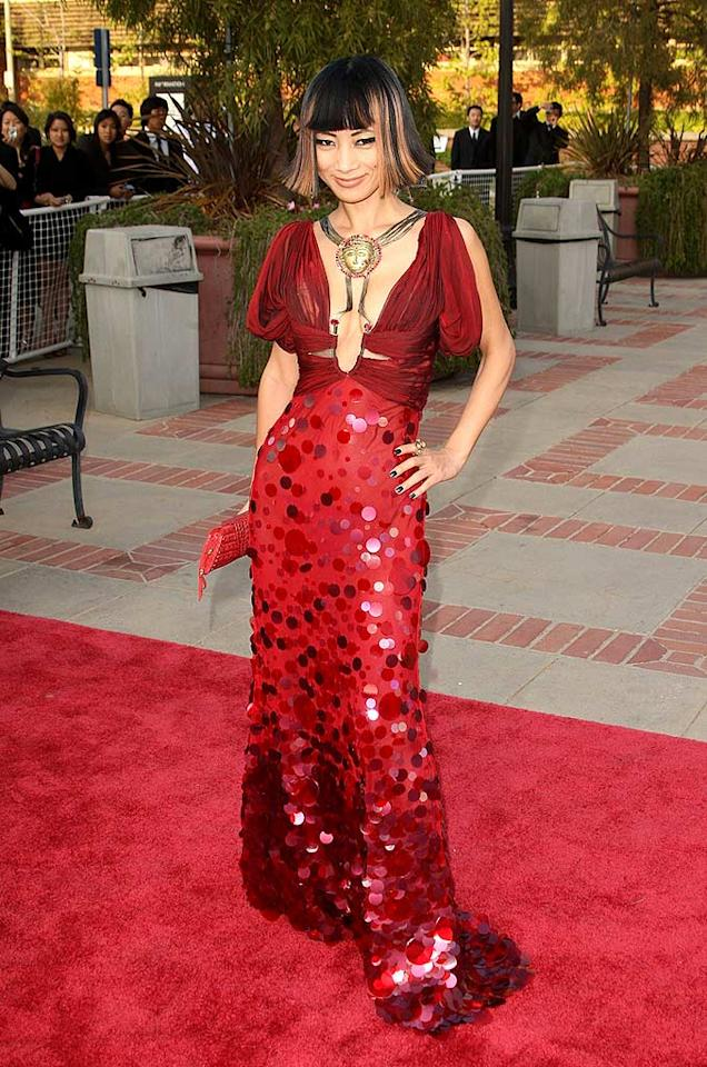 "The incomparable Bai Ling never fails to disappoint. Her dress has a little bit of everything: sequins, hooks, straps, keyhole front, and a giant gold medallion! Jason Merritt/<a href=""http://www.filmmagic.com/"" target=""new"">FilmMagic.com</a> - April 23, 2008"