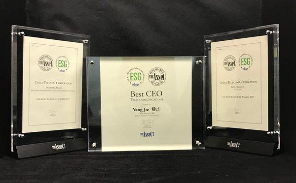 "China Telecom Accredited with ""Platinum Award"", ""Best Initiative in Innovation"" and ""Best CEO"" by The Asset"