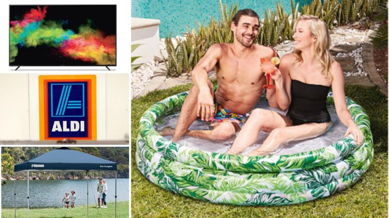 Television, inflatable pool and gazebo on sale as Special Buys at Aldi.