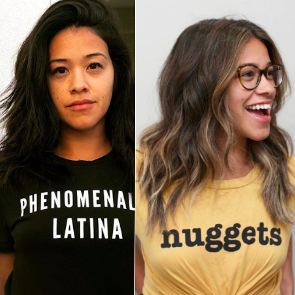 """With her show """"Jane the Virgin"""" about to end and a brand-new marriage to celebrate, 'tis a season of change for actor Gina Rodriguez —and what better way to celebrate than with new hair? <a href=""""https://www.instagram.com/anhcotran/"""">Stylist</a> Anh Co Tran and <a href=""""https://www.instagram.com/gracezip/"""">colorist</a> Grace Zip transformed Rodriguez's signature untouched brunette with a light and beachy balayage. The new cut features face-framing layers, which Zip heightens even more with targeted warm blonde highlights."""