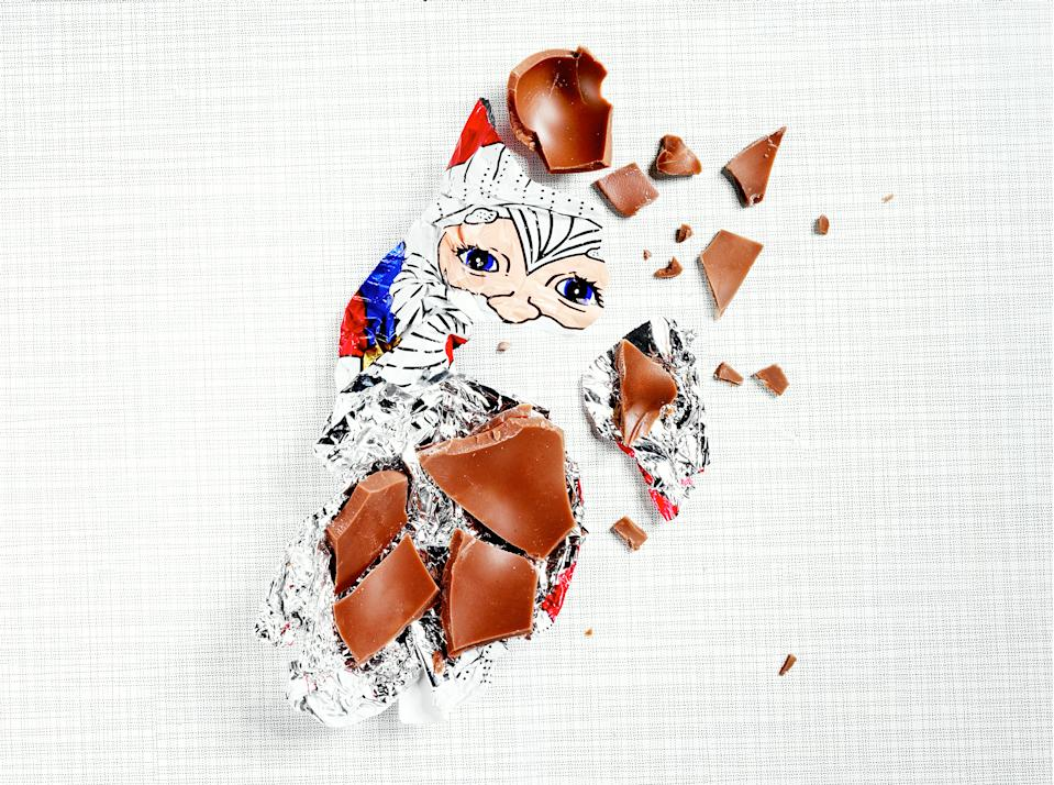 Leftovers of a chocolate santa claus