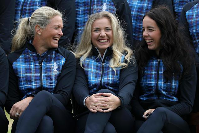 Suzann Pettersen, Bronte Law and Georgia Hall of Team Europe share a joke ahead of the Solheim Cup