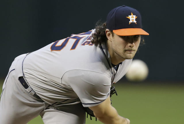 Astros starting pitcher Gerrit Cole overpowered the Diamondbacks Friday on his way to his first career shutout and a career-high 16 strikeouts. (AP)