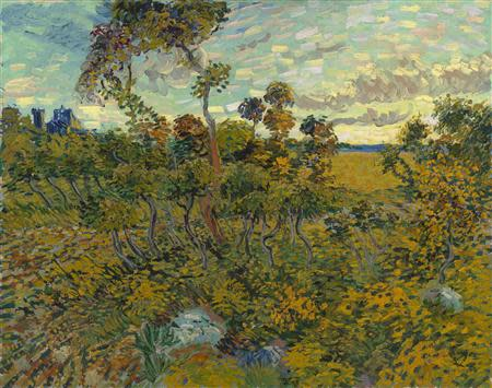 """A painting titled """"Sunset at Montmajour"""" is seen in this handout photo received from The Van Gogh Museum in Amsterdam"""