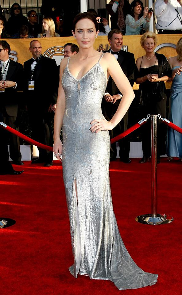 """<a href=""""/emily-blunt/contributor/1137077"""">Emily Blunt</a> arrives at the <a href=""""/the-15th-annual-screen-actors-guild-awards/show/44244"""">15th Annual Screen Actors Guild Awards</a> held at the Shrine Auditorium on January 25, 2009 in Los Angeles, California."""