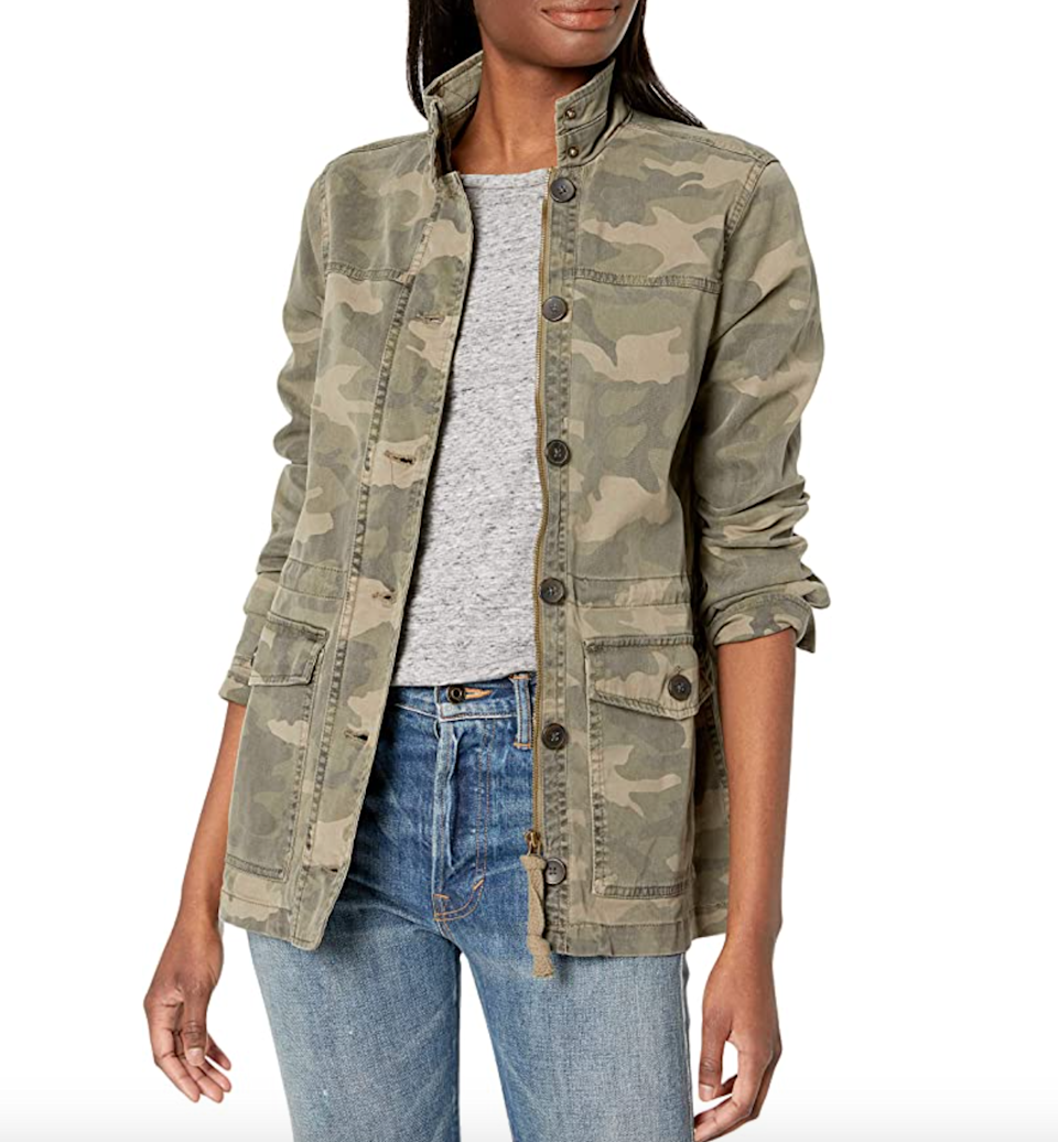 "<h2>Up To 40% Off Lucky Brand</h2><br>Discount is applicable to <a href=""https://amzn.to/2GVN0dY"" rel=""nofollow noopener"" target=""_blank"" data-ylk=""slk:denim, jewelry, and other apparel"" class=""link rapid-noclick-resp"">denim, jewelry, and other apparel</a>. <br><br><strong>Lucky Brand</strong> Camo Printed Utility Jacket, $, available at <a href=""https://amzn.to/34SC4pJ"" rel=""nofollow noopener"" target=""_blank"" data-ylk=""slk:Amazon Fashion"" class=""link rapid-noclick-resp"">Amazon Fashion</a>"