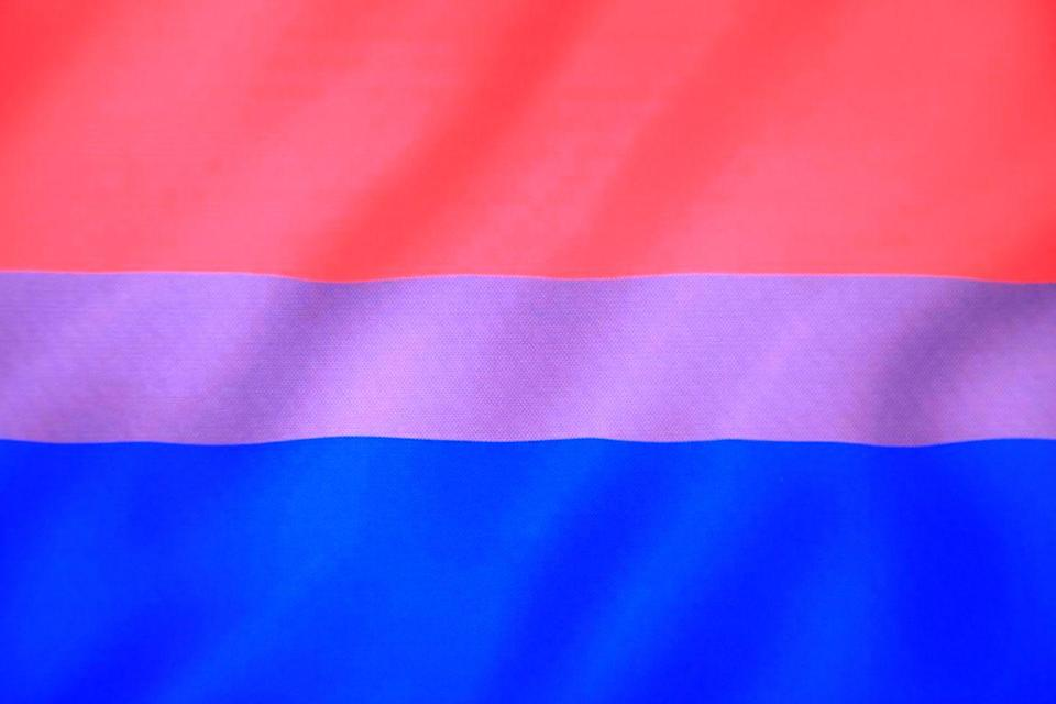 """<p><a href=""""https://www.tripridetn.org/pride-flags/"""" rel=""""nofollow noopener"""" target=""""_blank"""" data-ylk=""""slk:According to Tennessee's TriPride organization"""" class=""""link rapid-noclick-resp"""">According to Tennessee's TriPride organization</a>, Michael Page first designed the bisexual pride flag in 1998. Per UNCO, the pink stands for """"attraction to those of the same gender identity,"""" the purple for """"attraction to two genders,"""" and the blue signifies """"attraction to those who identify as a different gender.""""<br></p>"""