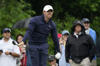Rory McIlroy, of Northern Ireland, watches his tee shot on the third hole during the first round of the Memorial golf tournament, Thursday, June 3, 2021, in Dublin, Ohio. (AP Photo/Darron Cummings)
