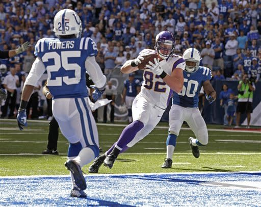 Minnesota Vikings' Kyle Rudolph (82) makes a 6-yard touchdown reception against Indianapolis Colts' Jerraud Powers (25) and Jerrell Freeman during the second half of an NFL football game in Indianapolis, Sunday, Sept. 16, 2012. (AP Photo/AJ Mast)