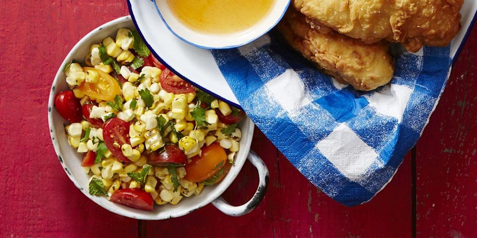 """<p>Why mess around with whole cobs when you could slice off the kernels and add a vibrant vinaigrette?</p><p><em><a href=""""https://www.goodhousekeeping.com/food-recipes/a39863/corn-off-the-cob-salad-recipe/"""" rel=""""nofollow noopener"""" target=""""_blank"""" data-ylk=""""slk:Get the recipe for Corn Off the Cob Salad »"""" class=""""link rapid-noclick-resp"""">Get the recipe for Corn Off the Cob Salad »</a></em></p>"""