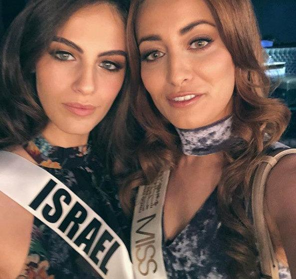 Contestants Miss Iraq, Sarah Eedan (R) and Miss Israel, Adar Gandelsman (L) pose together for a selfie, during preparations for the Miss Universe 2017 beauty pageant in Las Vegas, United States  November 13, 2017, in this image taken from social media.  SARAH IDAN/Social Media/via REUTERS    ATTENTION EDITORS - THIS IMAGE HAS BEEN SUPPLIED BY A THIRD PARTY. MANDATORY CREDIT. NO RESALES. NO ARCHIVES.