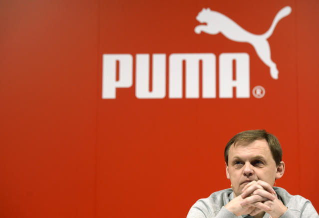 Puma CEO Bjoern Gulden at the company's annual press conference in Herzogenaurach, southern Germany on February 20, 2014 (AFP Photo/Christof Stache)