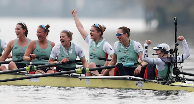 Rowing - 2018 Oxford University vs Cambridge University Boat Race - London, Britain - March 24, 2018 Cambridge crew celebrate winning the women's boat race REUTERS/Matthew Childs