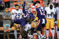 Clemson wide receiver Amari Rodgers (3) is tackled for a first down during the first half of an NCAA college football game against Pittsburgh Saturday, Nov. 28, 2020, in Clemson, S.C. (Ken Ruinard/The Independent-Mail via AP, Pool)