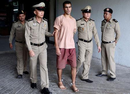 FILE PHOTO: Jailed Bahraini footballer Hakeem Al Araibi leaves Thailand's Criminal Court, in Bangkok