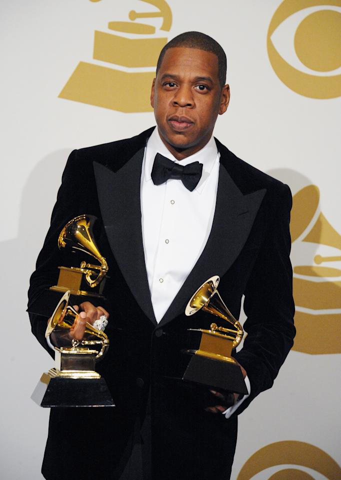 Jay-Z poses in the press room during the 55th Annual Grammy Awards at the Staples Center in Los Angeles, CA on February 10, 2013.