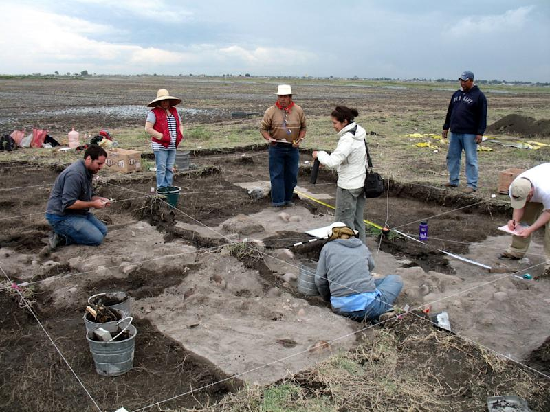 In this June 20, 2012 image courtesy of Christopher T. Morehart released on Jan. 31, 2013, archaeologists work at the site where skulls were found in a field in Xaltocan, near the Teotihuacan pyramids in central Mexico.  Georgia State University archaeologist Christopher Morehart found about 150 skulls of human sacrifice victims in this field, one of the first times that such a large accumulation of severed heads has been found outside of a major pyramid or temple complex in Mexico. (AP Photo/Christopher Y. Morehart)