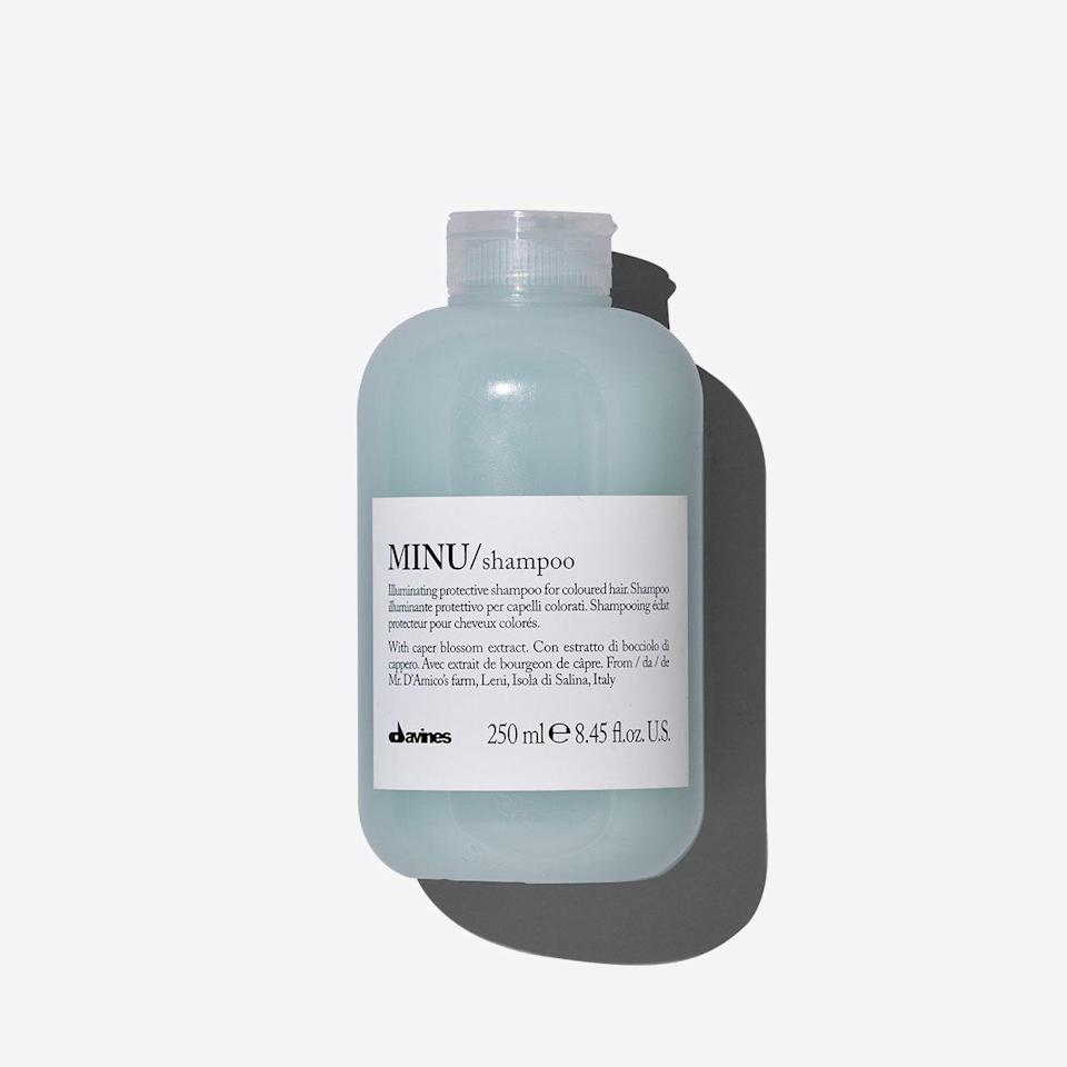 """<p>""""When I'm filming, my hair has constant heat, product and styling exposure. I've found this brand does a great job helping to keep it strong and healthy, and long-lasting color protection.""""</p> <p><strong>Buy It! </strong>Davines Minu Shampoo, $30; <a href=""""https://us.davines.com/products/minu-shampoo"""" rel=""""sponsored noopener"""" target=""""_blank"""" data-ylk=""""slk:us.davines.com"""" class=""""link rapid-noclick-resp"""">us.davines.com</a></p>"""