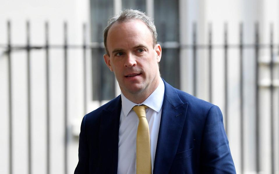 Britain's Secretary of State for Foreign affairs Dominic Raab leaves Downing Street in London, following the outbreak of the coronavirus disease (COVID-19) - Reuters/Toby Melville
