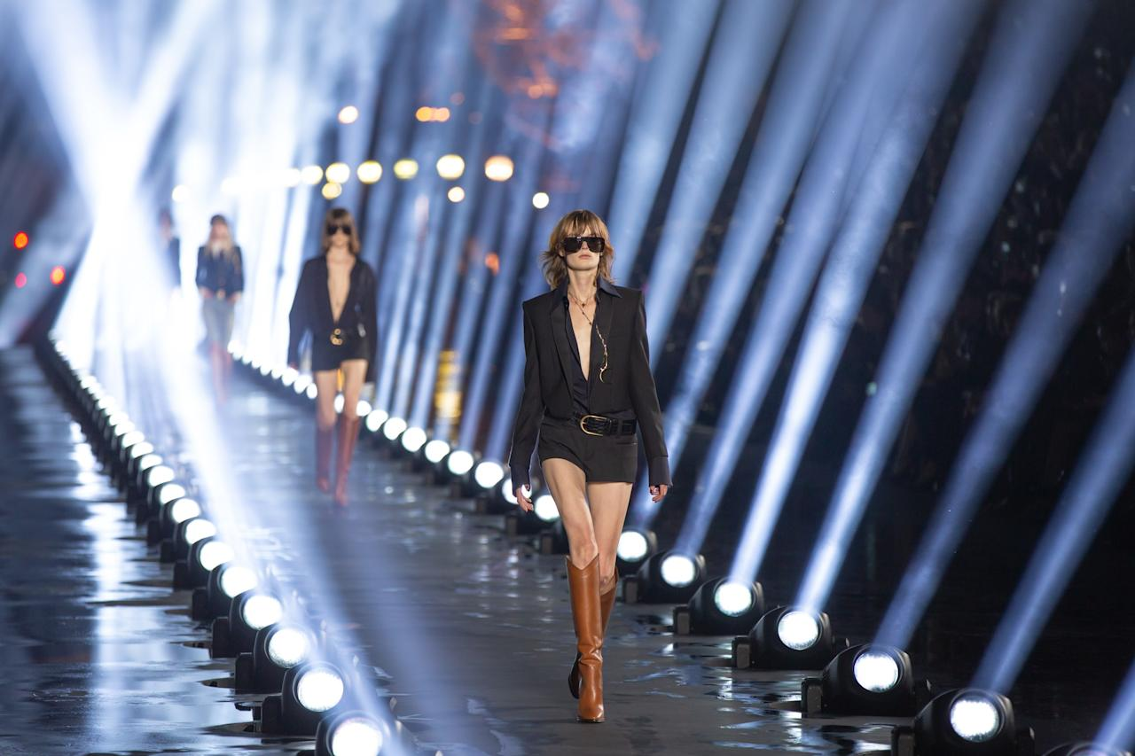 On the runway at the Saint Laurent SS20 show during Paris Fashion Week on Tuesday, September 24th, 2019. Photograph by Serichai Traipoom for W Magazine.