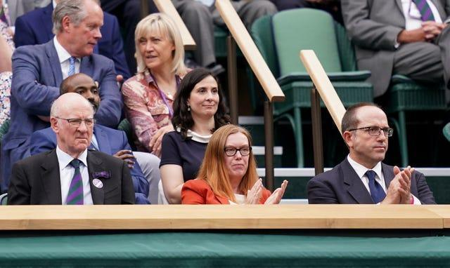 Dame Sarah Gilbert (centre) in the Royal Box at Centre Court on day one of Wimbledon (John Walton/PA)