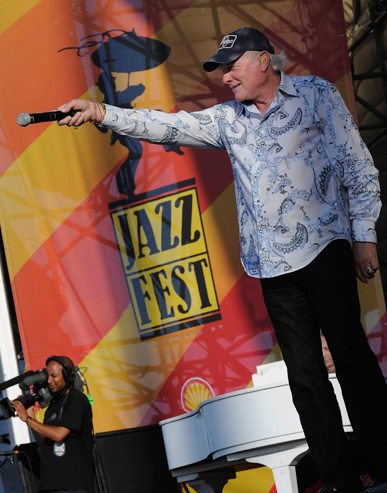 NEW ORLEANS, LA - APRIL 27:  Mike Love of The Beach Boys performs during the 2012 New Orleans Jazz & Heritage Festival Presented by Shell at the Fair Grounds Race Course on April 27, 2012 in New Orleans, Louisiana.  (Photo by Rick Diamond/Getty Images)