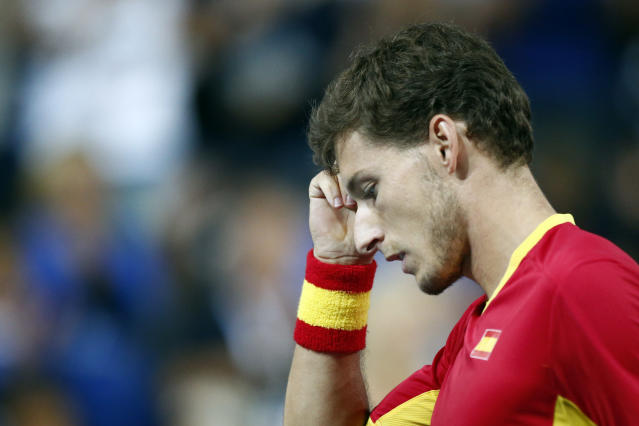 Spain's Pablo Carreno Busta reacts as he plays France's Benoit Paire during the Davis Cup semifinals France against Spain, Friday, Sept.14, 2018 in Lille, northern France. (AP Photo/Michel Spingler)
