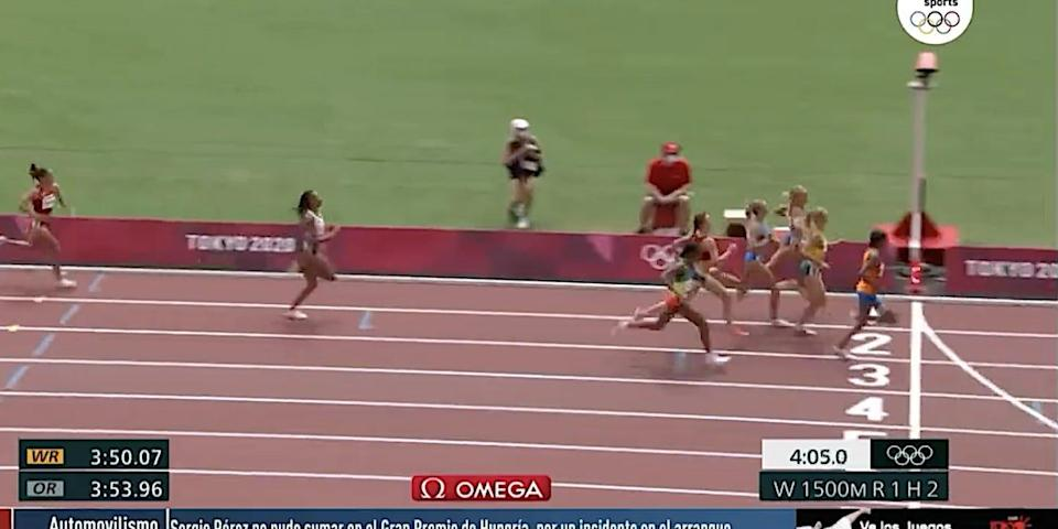Sifan Hassan wins the women's 1,500 meter race at the Tokyo Olympics.