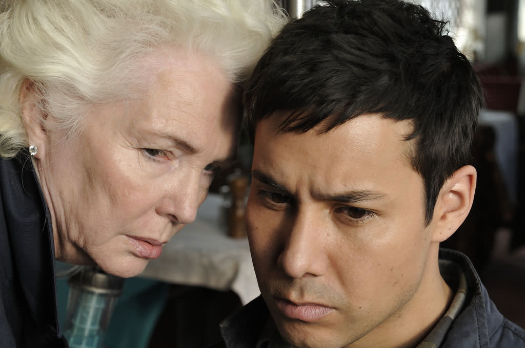 "Fionnula Flanagan as Nicky and Justin Rain as Quentin McCawley in the ""Defiance"" episode, ""If I Ever Leave This World Alive."""
