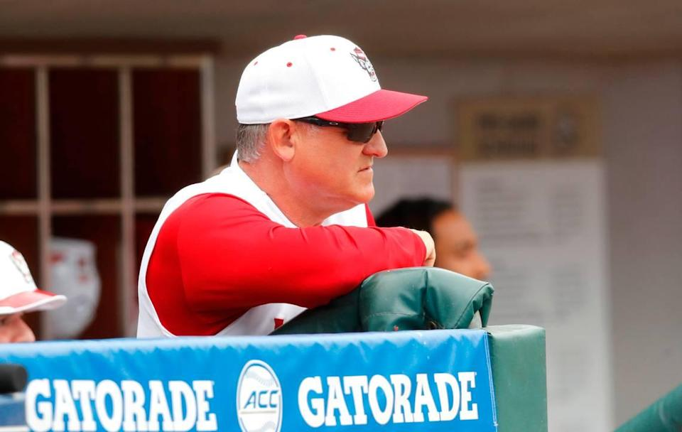 N.C. State head coach Elliott Avent watches during N.C. State's game against Duke in the ACC Baseball Championship game at Truist Field in Charlotte, N.C., Sunday, May 30, 2021.
