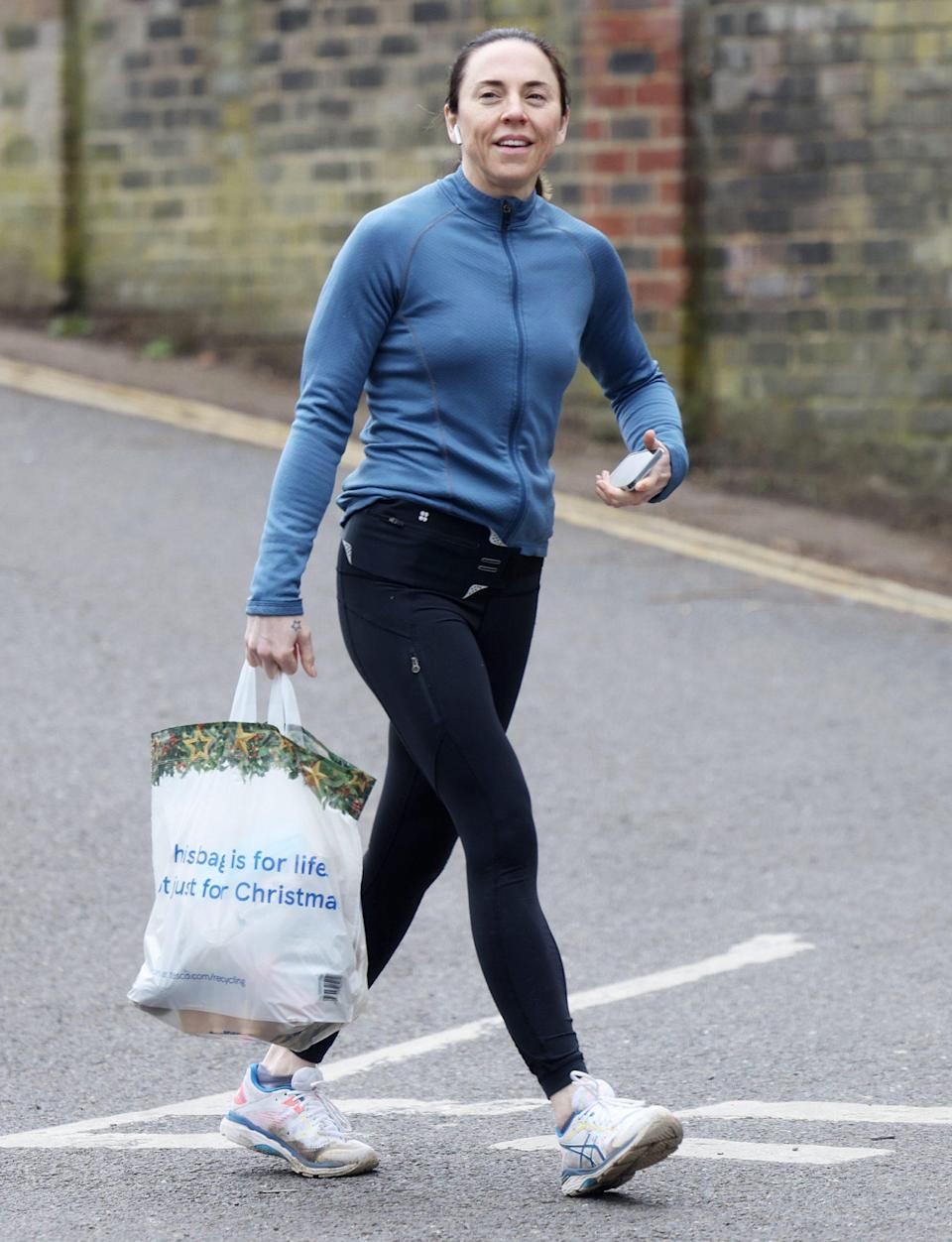 """<p>Melanie C stays true to her """"Sporty Spice"""" roots while running errands around Hampstead in athleisure on Saturday in London. </p>"""