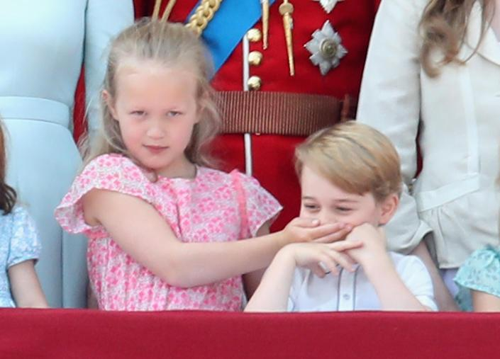 Prince George seems like he loves to mess around with his cousin Savannah Philips. (Getty Images)