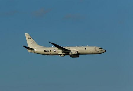 A U.S. Navy P-8A Poseidon maritime patrol aircraft takes part in the Malta International Airshow