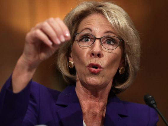 President Trump's nominee for education secretary, Betsy DeVos, has declined to say that schools should be gun-free zones. (Photo: Getty/Chip Somodevilla)