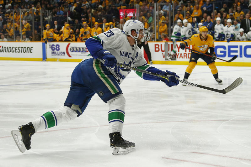 NASHVILLE, TENNESSEE - APRIL 04: Alexander Edler #23 of the Vancouver Canucks plays against the Nashville Predators at Bridgestone Arena on April 04, 2019 in Nashville, Tennessee. (Photo by Frederick Breedon/Getty Images)