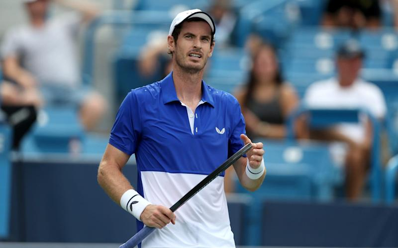 Andy Murray competes in the Rafa Nadal Challenger event on Monday - Getty Images North America