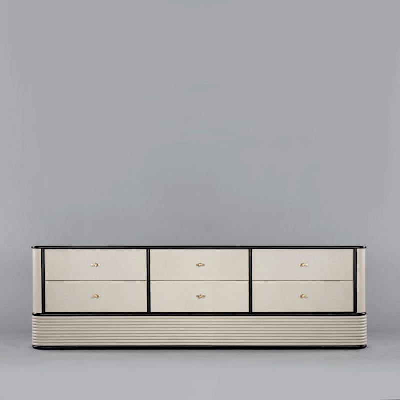 Switch Sideboard, in leather, walnut, and black oak by VIDIVIXI.